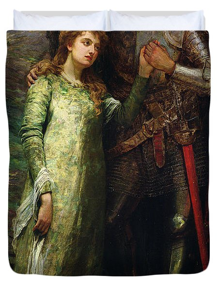 A Knight And His Lady Duvet Cover by William G Mackenzie