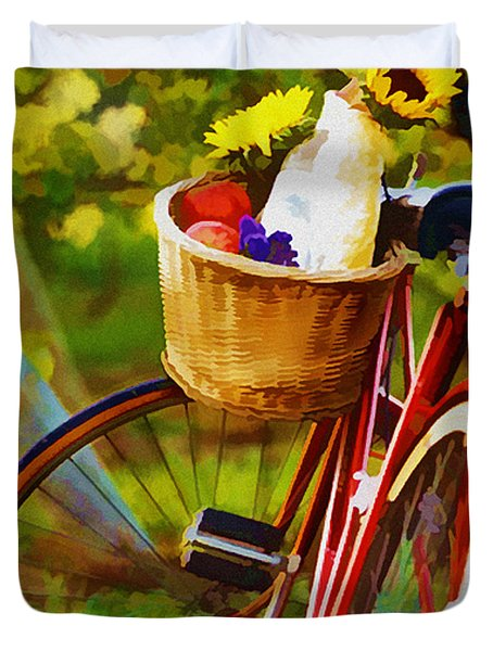 A Loaf of Bread a Jug of Wine and a Bike Duvet Cover by Elaine Plesser