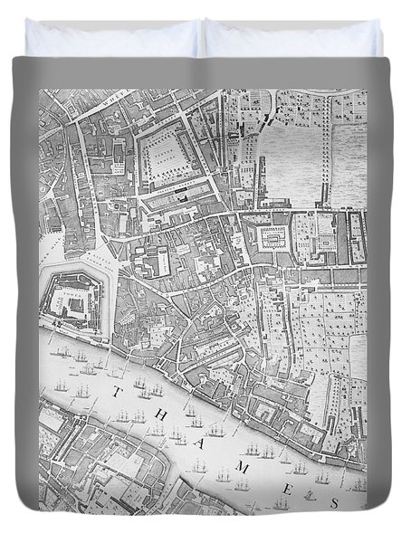 A Map Of The Tower Of London Duvet Cover by John Rocque
