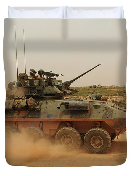 A Marine Corps Light Armored Vehicle Duvet Cover by Stocktrek Images