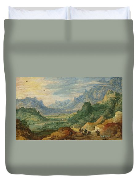 A Mountainous Landscape With Travellers And Herdsmen On A Path Duvet Cover by Jan Brueghel and Joos de Momper