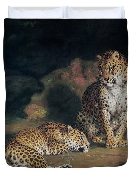 A Pair Of Leopards Duvet Cover by William Huggins