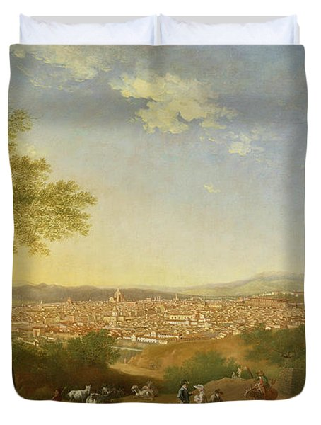 A Panoramic View Of Florence From Bellosguardo Duvet Cover by Thomas Patch