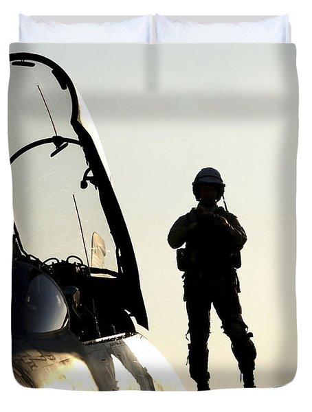 A Pilot Prepares To Enter His F-14b Duvet Cover by Stocktrek Images