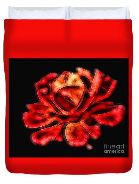 A Red Rose For You 2 Duvet Cover by Mariola Bitner