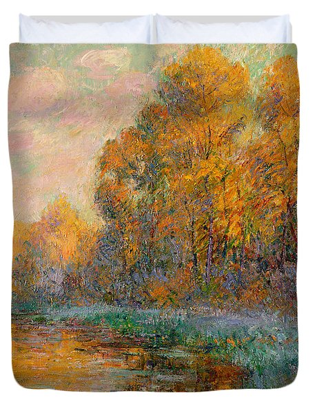 A River In Autumn Duvet Cover by Gustave Loiseau