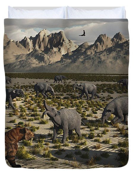 A Sabre-toothed Tiger Stalks A Herd Duvet Cover by Mark Stevenson