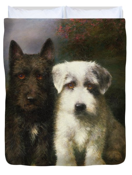 A Scottish And A Sealyham Terrier Duvet Cover by Lilian Cheviot