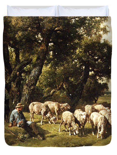 A Shepherd And His Flock Duvet Cover by Charles Emile Jacques