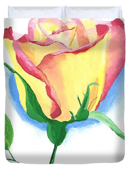 Duvet Cover featuring the painting A Single Rose by Rodney Campbell
