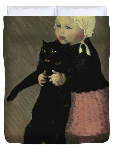 A Small Girl With A Cat Duvet Cover by TA Steinlen