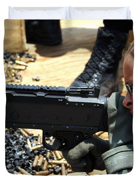 A Soldier Fires An M240b Medium Machine Duvet Cover by Stocktrek Images
