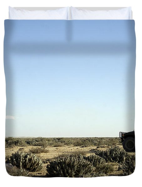 A Soldier Tests His Skill With The Tube Duvet Cover by Stocktrek Images