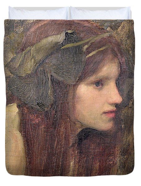 A Study For A Naiad Duvet Cover by John William Waterhouse