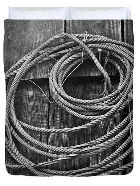 A Study of Wire in Gray Duvet Cover by Douglas Barnett