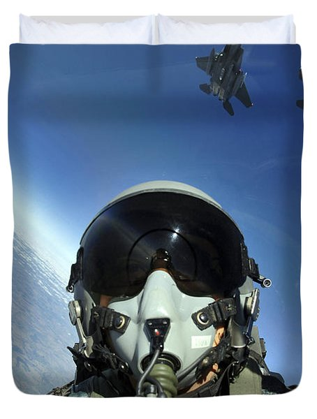 A Three-ship Formation Of F-15e Strike Duvet Cover by Stocktrek Images