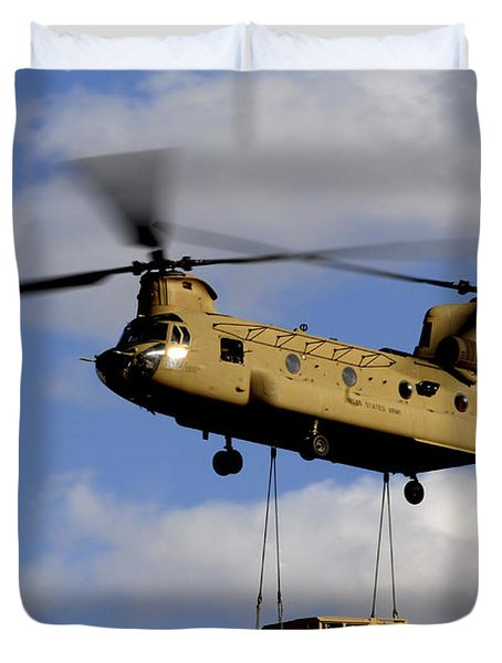 A U.s. Army Ch-47 Chinook Helicopter Duvet Cover by Stocktrek Images