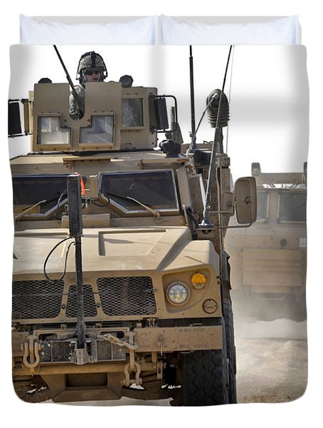 A U.s. Army M-atv Leads A Convoy Duvet Cover by Stocktrek Images