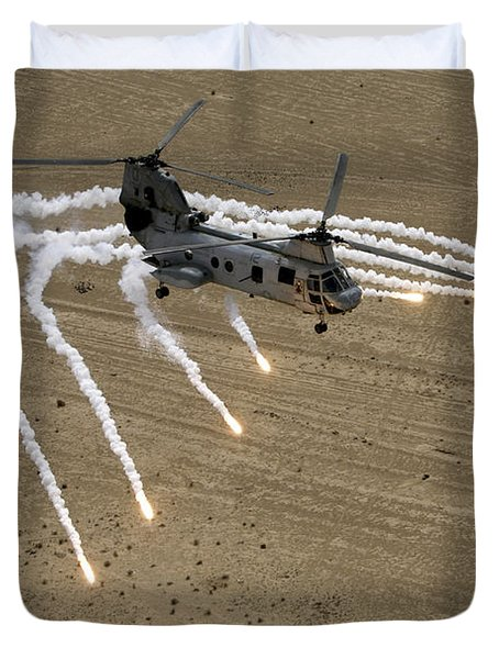 A U.s. Marine Corps Ch-46 Sea Knight Duvet Cover by Stocktrek Images