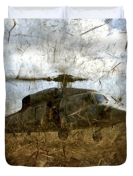 A U.s. Navy Hh-60 Seahawk Stirs Duvet Cover by Stocktrek Images
