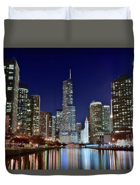A View Down The Chicago River Duvet Cover by Frozen in Time Fine Art Photography
