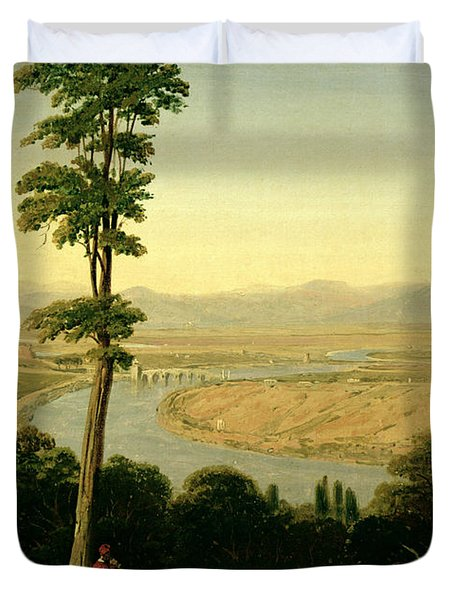 A View Of The Tiber And The Roman Campagna From Monte Mario Duvet Cover by William Linton