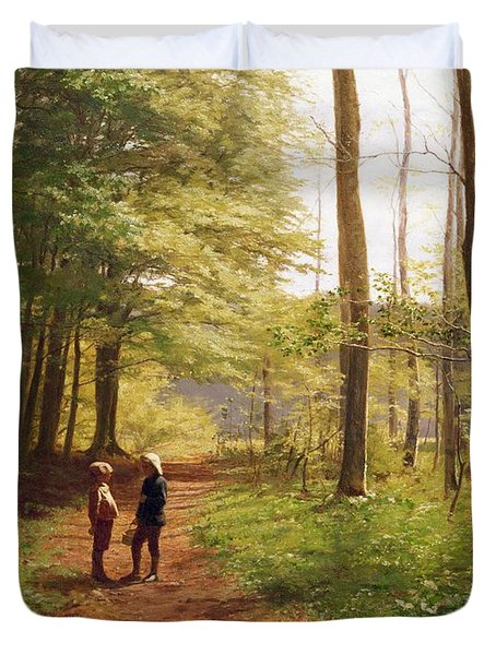 A Walk In The Forest Duvet Cover by Niels Christian Hansen