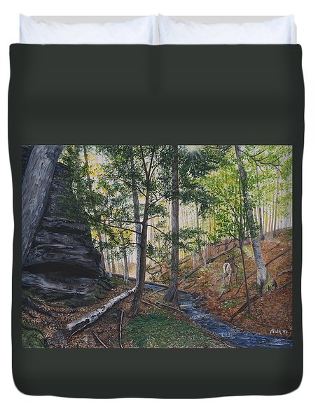 A Walk In The Woods Duvet Cover by Vicky Path