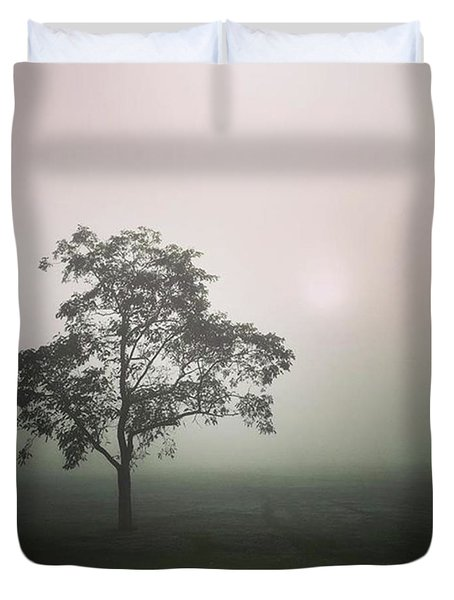 A Walk Through The Clouds #fog #nuneaton Duvet Cover by John Edwards