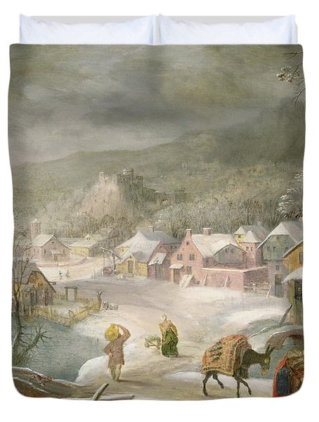 A Winter Landscape With Travellers On A Path Duvet Cover by Denys van Alsloot