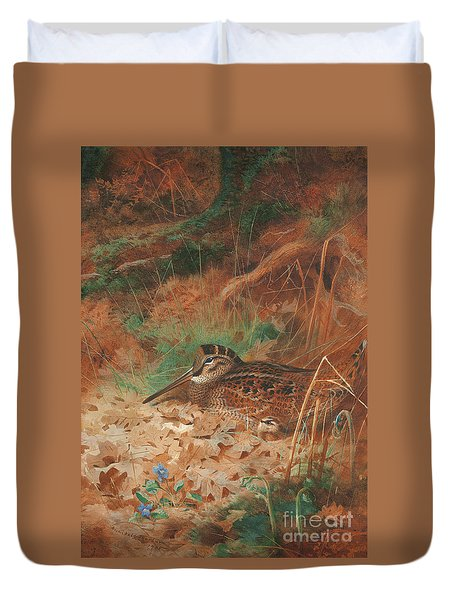 A Woodcock And Chick In Undergrowth Duvet Cover by Archibald Thorburn