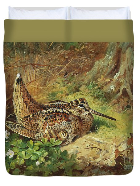 A Woodcock And Chicks Duvet Cover by Archibald Thorburn