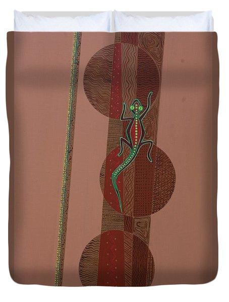 Aboriginal Lizard Duvet Cover by Kaaria Mucherera