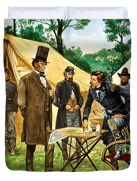 Abraham Lincoln Plans His Campaign During The American Civil War  Duvet Cover by Peter Jackson