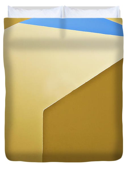 Abstract Architecture In Yellow Duvet Cover by Meirion Matthias