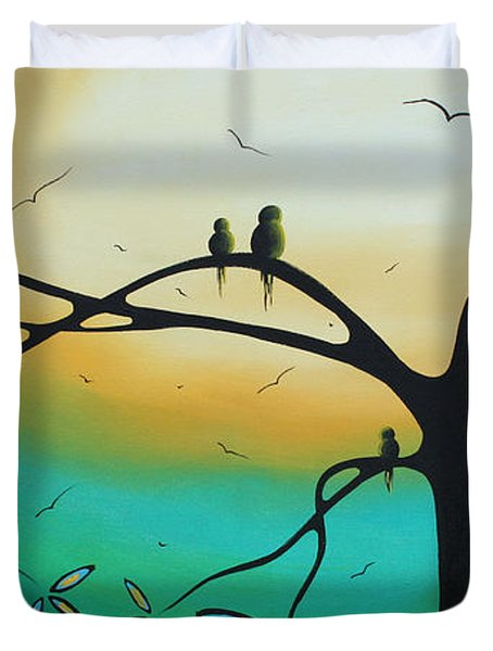 Abstract Art Landscape Bird Painting Family Perch By Madart Duvet Cover by Megan Duncanson