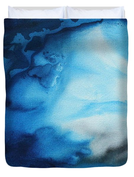 Abstract Art Original Blue Pianting UNDERWATER BLUES by MADART Duvet Cover by Megan Duncanson