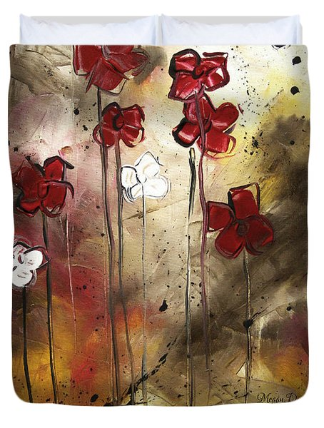 Abstract Art Original Flower Painting FLORAL ARRANGEMENT by MADART Duvet Cover by Megan Duncanson