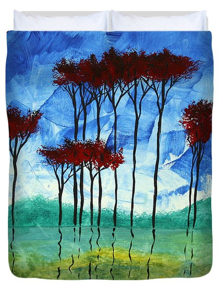 Abstract Art Original Landscape Painting Reflective Beauty By Madart Duvet Cover by Megan Duncanson