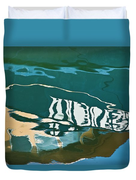 Abstract Boat Reflection Duvet Cover by Dave Gordon