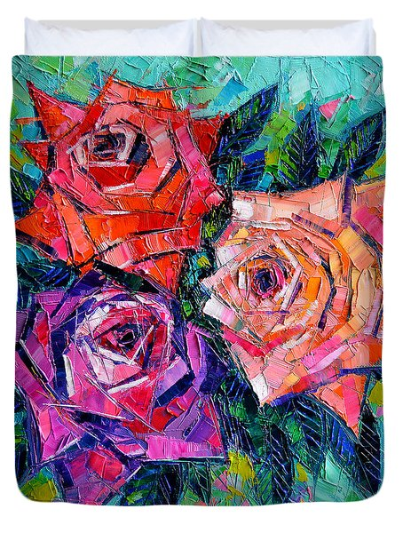 Abstract Bouquet Of Roses Duvet Cover by Mona Edulesco