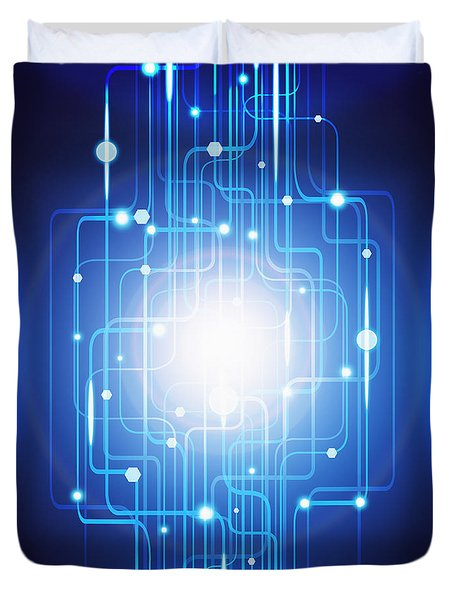 abstract circuit board lighting effect  Duvet Cover by Setsiri Silapasuwanchai