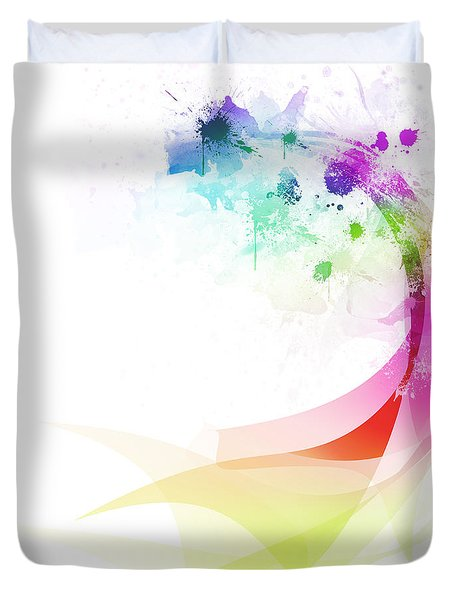 Abstract colorful curved Duvet Cover by Setsiri Silapasuwanchai