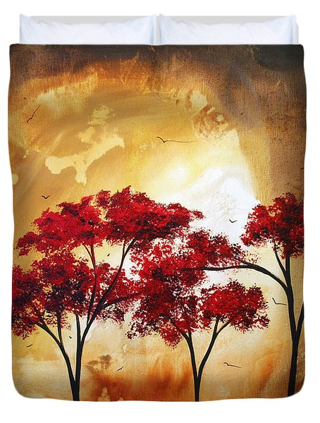 Abstract Landscape Painting EMPTY NEST 2 by MADART Duvet Cover by Megan Duncanson
