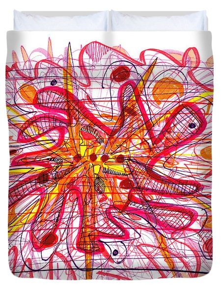 Abstract Pen Drawing Fifteen Duvet Cover by Lynne Taetzsch