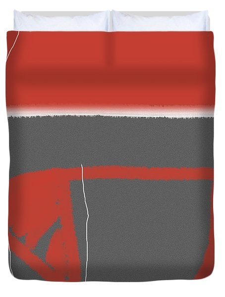 Abstract Red Duvet Cover by Naxart Studio