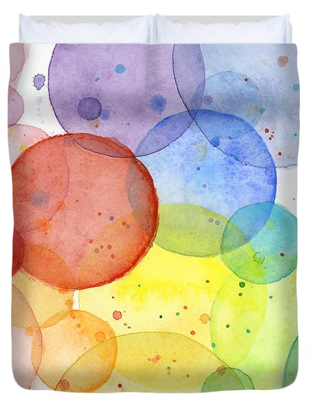 Abstract Watercolor Rainbow Circles Duvet Cover by Olga Shvartsur