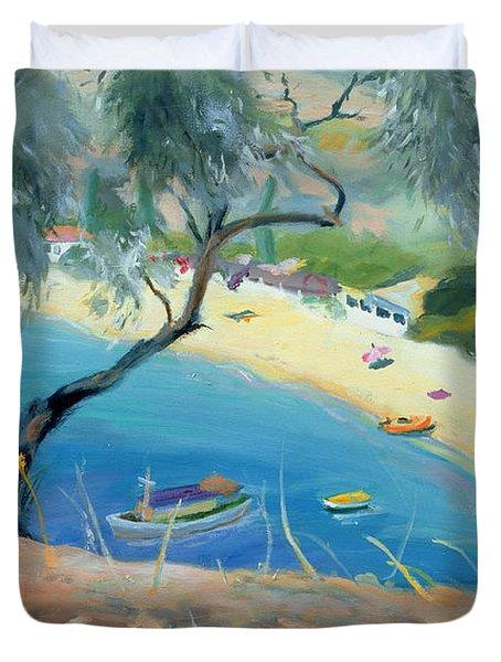 Achladies Bay - Skiathos - Greece Duvet Cover by Anne Durham