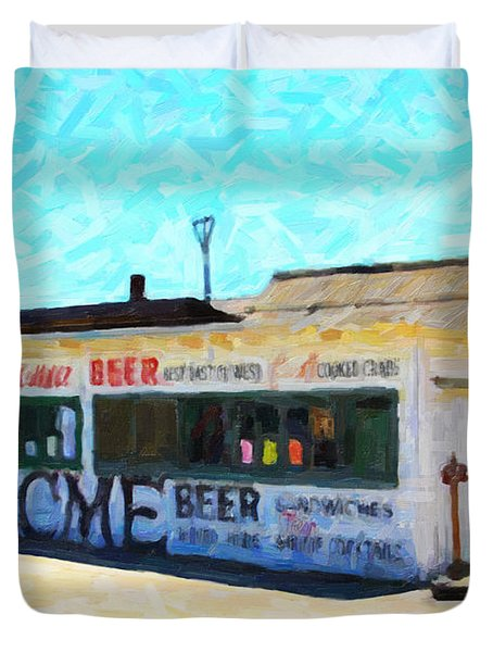 Acme Beer At The Old Lunch Shack At China Camp Duvet Cover by Wingsdomain Art and Photography