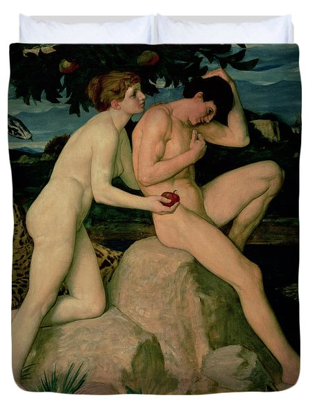 Adam And Eve  Duvet Cover by William Strang